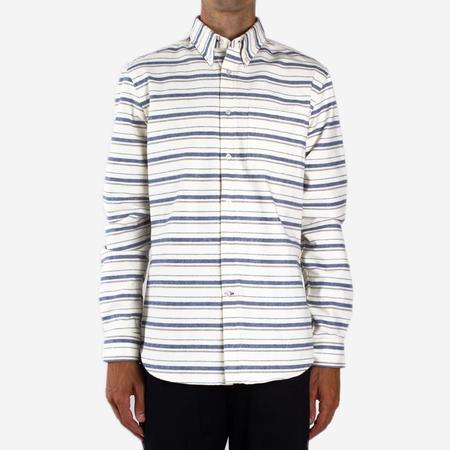 Bon Vivant Gino Heavyweight Moleskin Stripe Shirt - Off-White/Blue