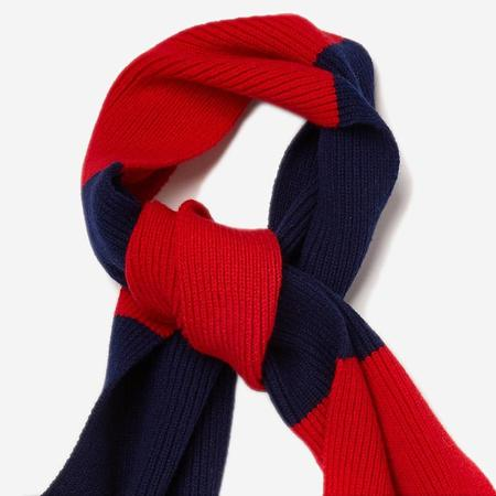 Country of Origin Lambswool Stripe Scarf - Red/Navy