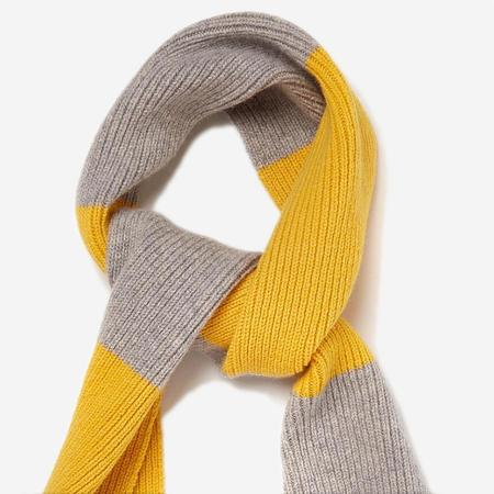 Country of Origin Lambswool Stripe Scarf - Yellow/Light Grey