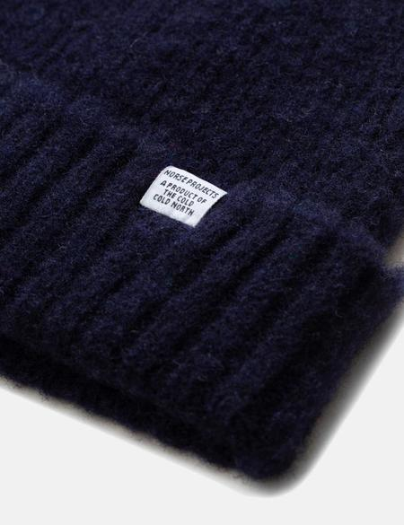 Norse Projects Brushed Lambswool Beanie Hat - Dark Navy Blue