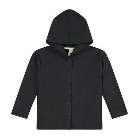 kids gray label relaxed hooded cardigan - nearly black