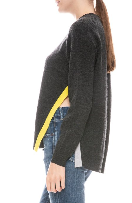 27 Miles Split Colorblock Hem Sweater - Graphite