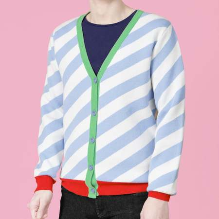Unisex MATTER MATTERS V-Neck Wool/Cashmere Blend Cardigan - Slate Blue