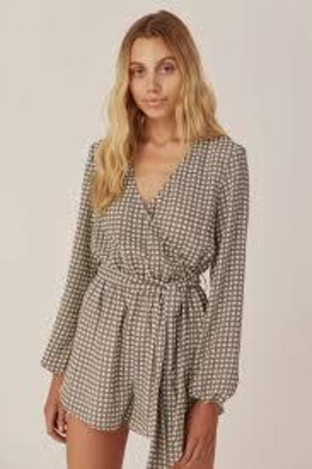 The Fifth Label Longitude Check Playsuit - Ivory/Black