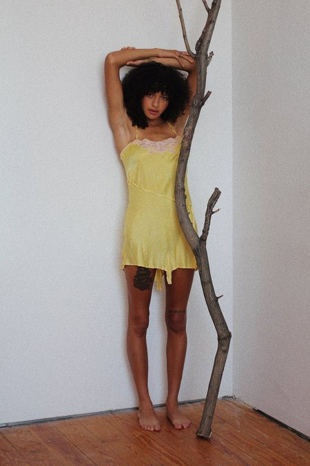 Vintage Silk Romper - Bright Yellow