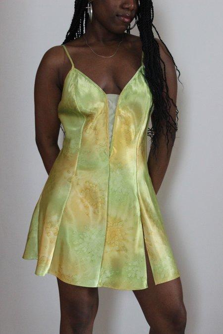 Vintage Slip Dress - Lime Green/Gold