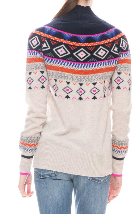 Autumn Cashmere Fair Isle Mock Cashmere Sweater - MOJAVE/NAVY