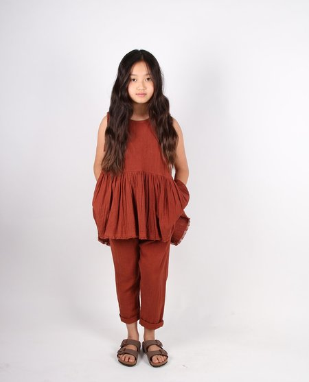 Kids Feather Drum Asymmetrical Slouchie Pants  - Brandy
