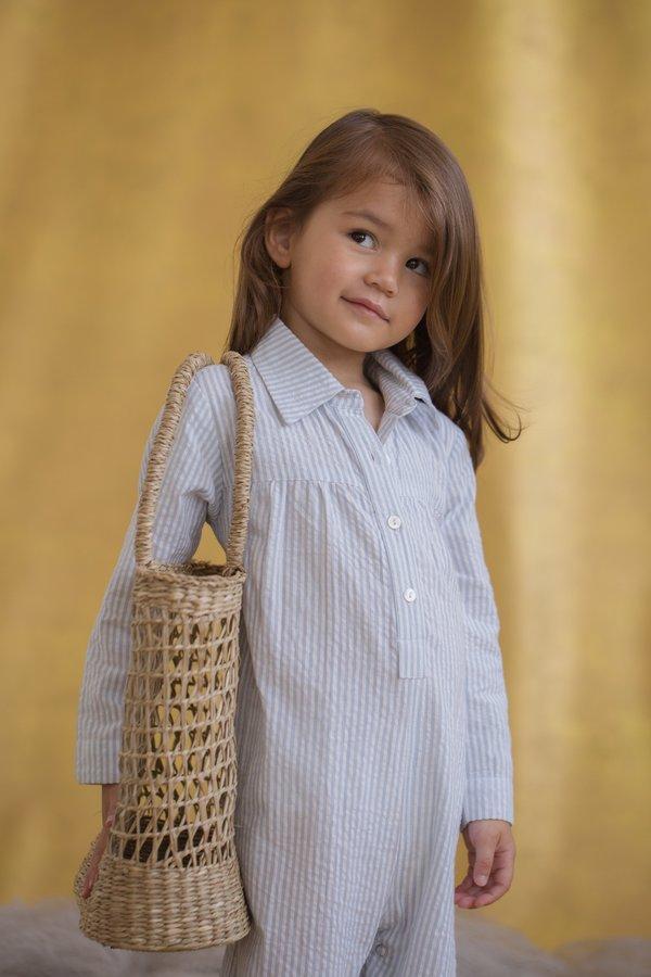 KIDS Feather Drum DILLON JUMPSUIT - BLUE PINSTRIPE SEERSUCKER