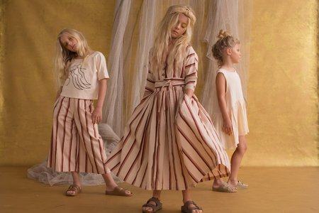 Kids Feather Drum Muse Palazzo Pant - Brandy Stripe