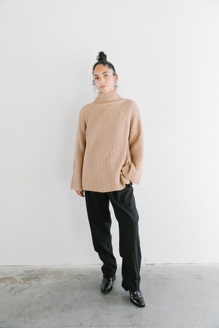Achro Mijeong Park Ribbed Knit Top with Scarf - Camel
