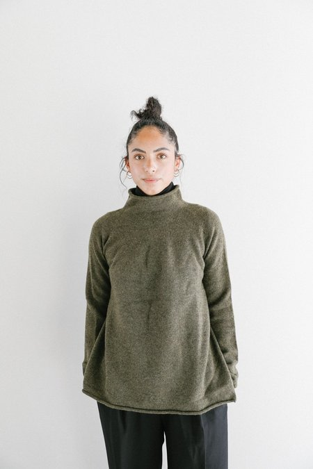 Achro Mijeong Park WholeGarment High Neck Knit Top - Olive