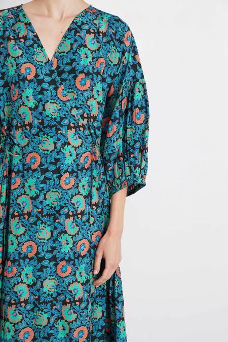 Apiece Apart Ile Wrap Dress - Teal Floral
