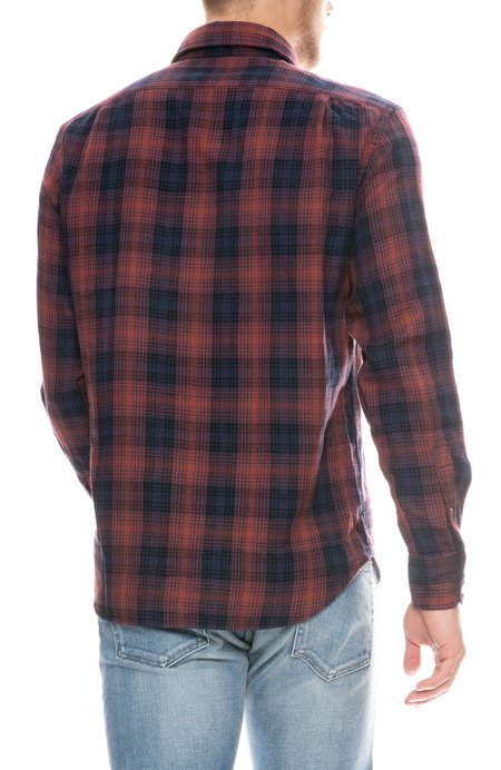 Hartford Paul Double Faced Plaid Shirt - NAVY GRENAT/BLUE
