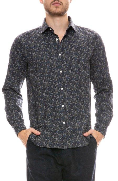 Hartford Sammy Floral Print Shirt - BLUE GREEN/NAVY