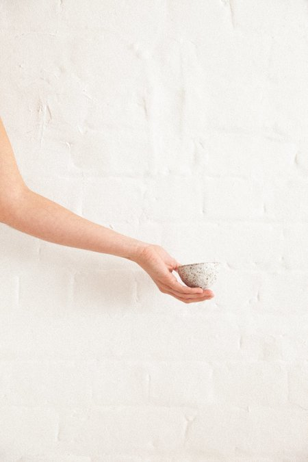 tara burke ceramics jewellery bowl - gloss white speckle