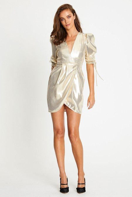 ALICE MCCALL Astral Plane Cap Sleeve Mini Dress - Gold
