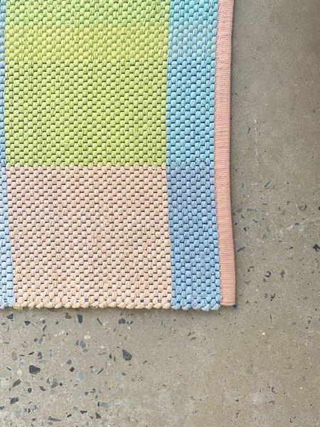 Claudia Mills 2x2' Cotton Rug - Neon/Peach Squares