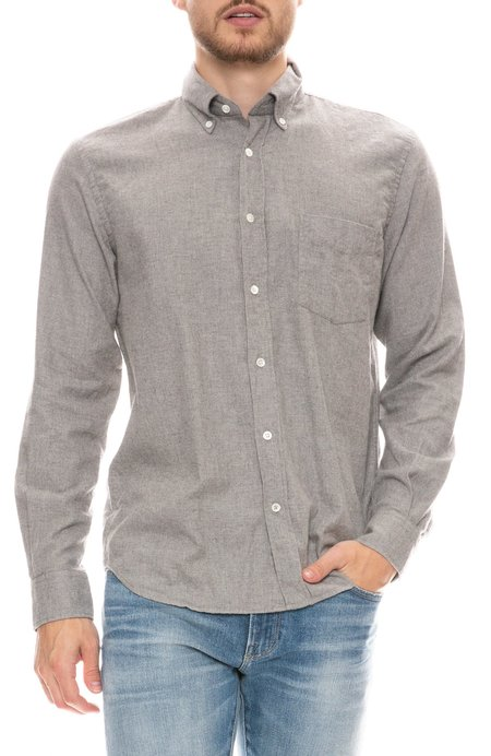 Hartford Paul Solid Flannel Shirt - LIGHT GREY