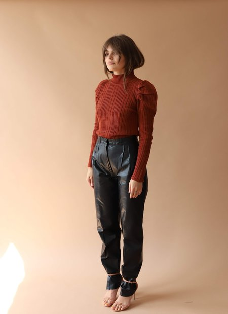 Current Air Pleated Shoulder Sweater - Brick