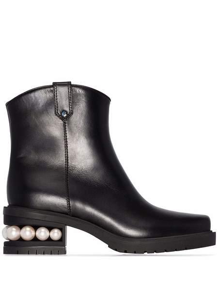 Nicholas Kirkwood Casati Calf Western Ankle Boot - Black