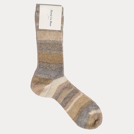 Maria La Rosa Mid Calf Socks - Beige Rainbow