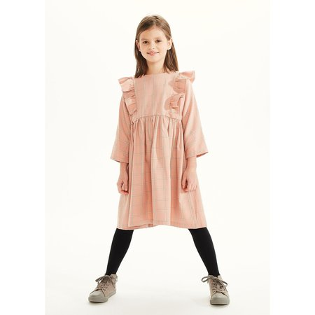 Kids On The Moon Plaid Frill Dress - Coral