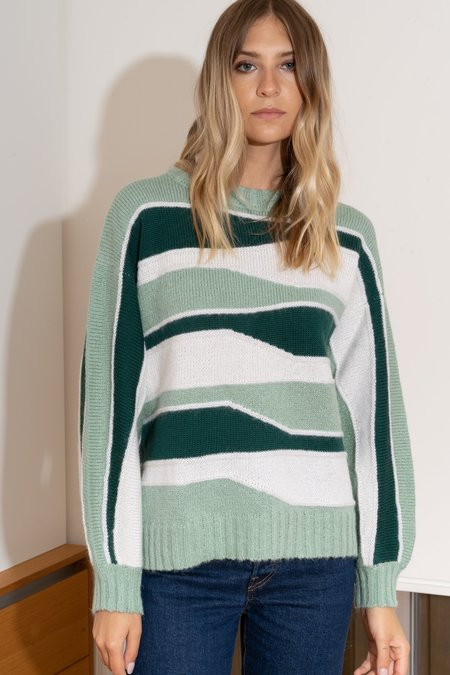 MILA ZOVKO TATYANA Sweater - Forest/Cream/Hazy Green