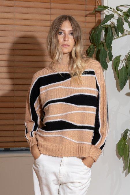 MILA ZOVKO TATYANA Sweater - Taupe/Black/Cream