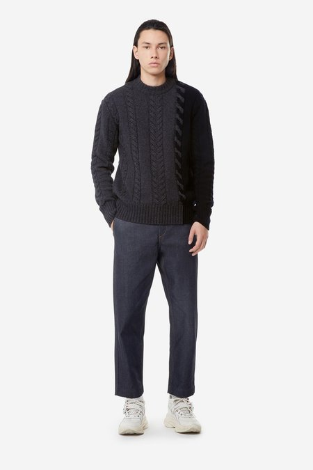 Kitsune Pullover Cable Knit - Grey Navy