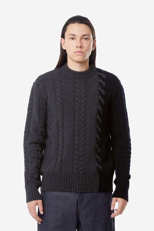 Kitsune Cable Knit Pullover - Grey/Navy