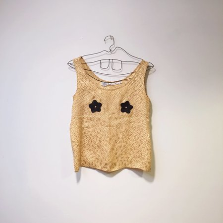 Vintage Reworked Flower Tank - Pale Yellow