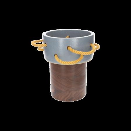 Bzippy & Co. MD Rope Vase - Grey/Walnut