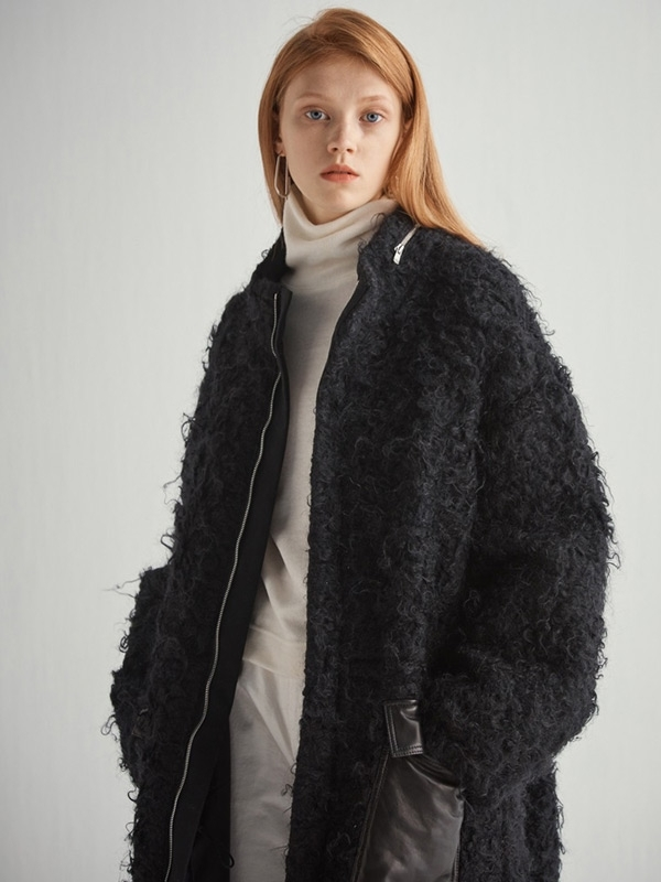 HALEINE Mohair Long Parka - Black