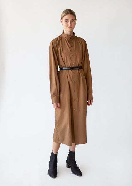 ARCH THE Cotton Dress Full Button - Camel