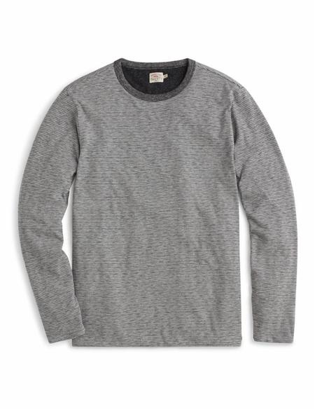 Faherty Brand Luxe Heather Reversible Crew - Charcoal Stripe