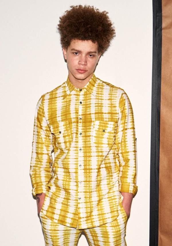 Studio One Eighty Nine Cotton Marley Button Down Long Sleeve Shirt - Yellow Ayumi