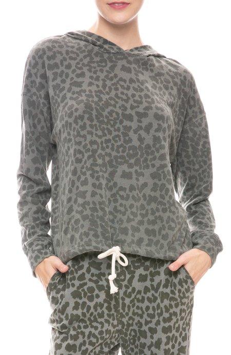 Sundry Leopard Drawstring Hoodie - PIGMENT MILITARY