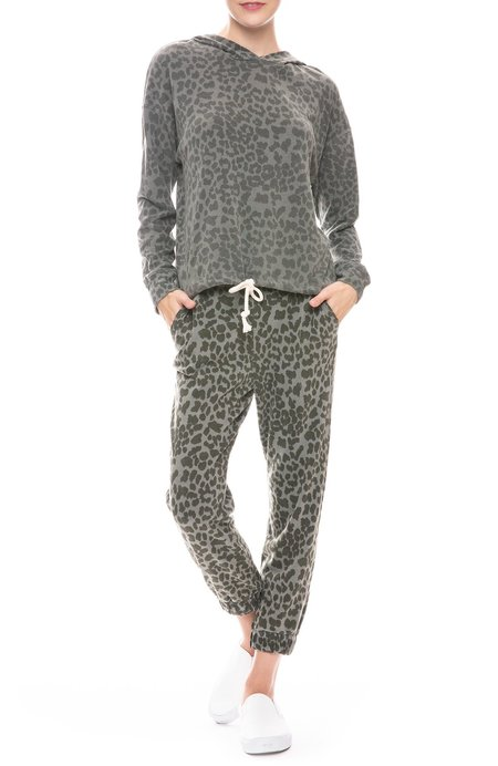 Sundry Ruched Cuff Leopard Sweatpant - PIGMENT MILITARY