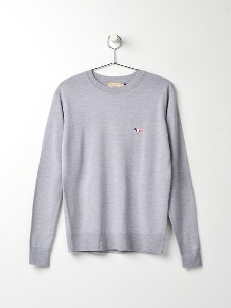 Maison Kitsune Virgin Wool R-neck Pullover - Grey Melange