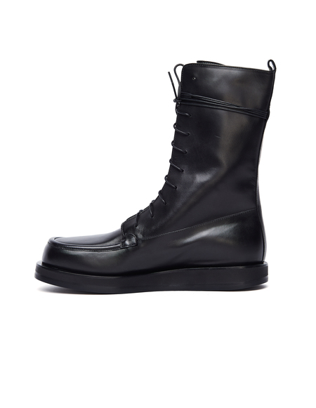 The Row Leather Patty Boots - Black