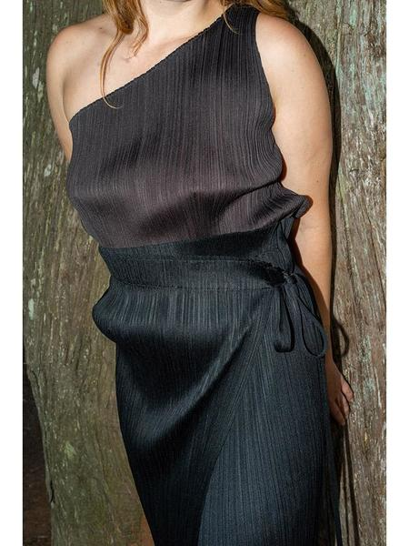 Issey Miyake Pleats Please One Shoulder Tank - Brown