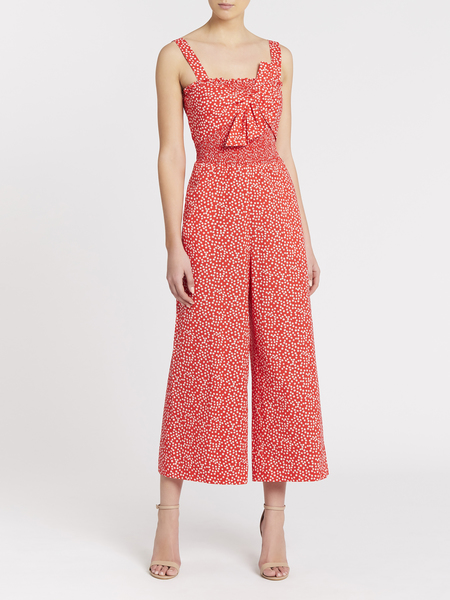 Rebecca Taylor Malia Floral Bow Smocked Jumpsuit - Cherry Bomb