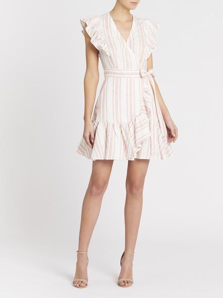 Rebecca Taylor Yarn Dyed Stripe Wrap Dress - Snow