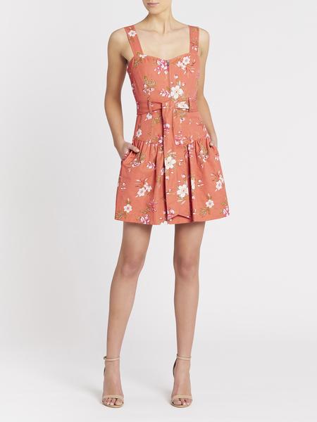 Rebecca Taylor Lita Floral Linen Dress - Sunset