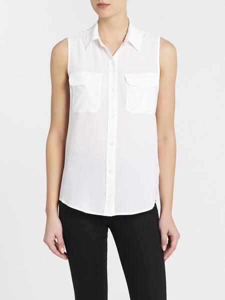 Equipment Sleeveless Slim Signature Shirt - Bright White