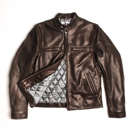 Golden Bear Banded Collar Leather Moto Jacket - Dark Brown