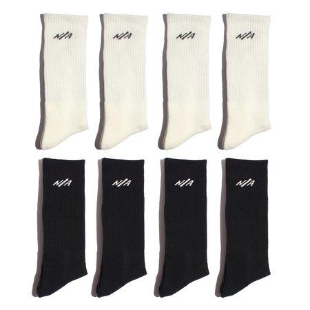 N/A Half and Half 8 Pack of Socks - Black/White