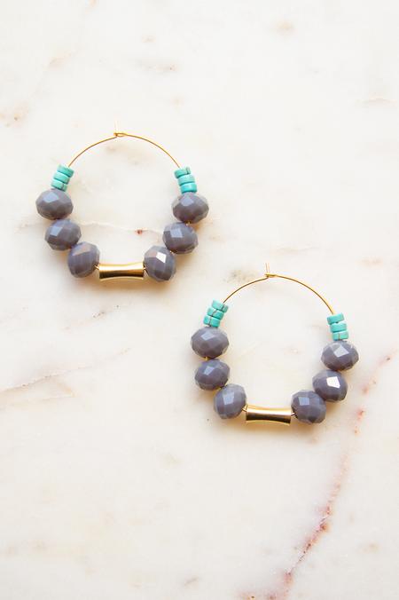 David Aubrey Inc Grey Magnesite & Glass Hoop Earrings