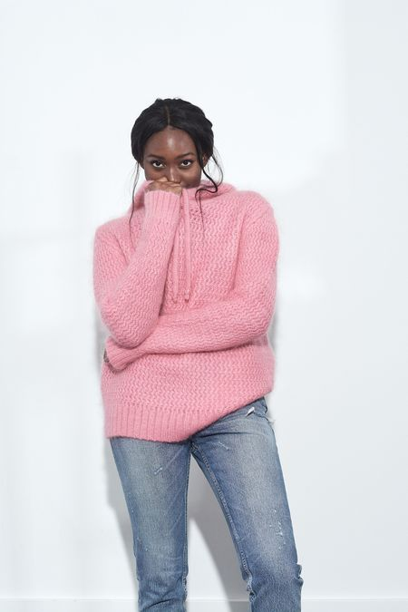 Happy Sheep Knit Oversized Hoodie - Bubble